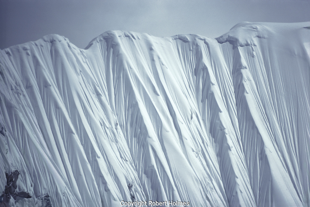 Steep snow face on Mount Everest, Nepal