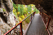 Catwalk trail into Box Canyon Falls, Ouray, Colorado USA