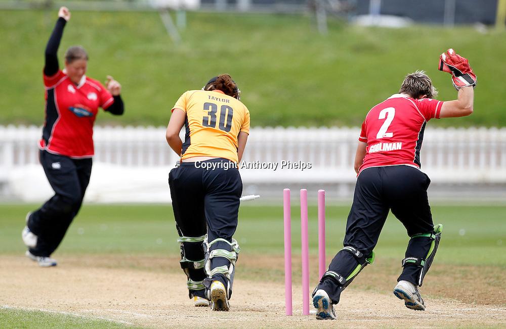 Wellington's Sarah Taylor bowled, Action Cricket Twenty20 Final, Blaze v Magicians. Basin Reserve, Wellington. Saturday 5 February 2011. Photo: Anthony Phelps/PHOTOSPORT