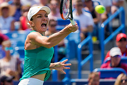 August 19, 2018 - Cincinnati, OH, U.S. - CINCINNATI, OH - AUGUST 19: Simona Halep of Romania hits a forehand shot during the Western & Southern Open singles final at the Lindner Family Tennis Center in Mason, Ohio on August 19, 2018. (Photo by Adam Lacy/Icon Sportswire) (Credit Image: © Adam Lacy/Icon SMI via ZUMA Press)