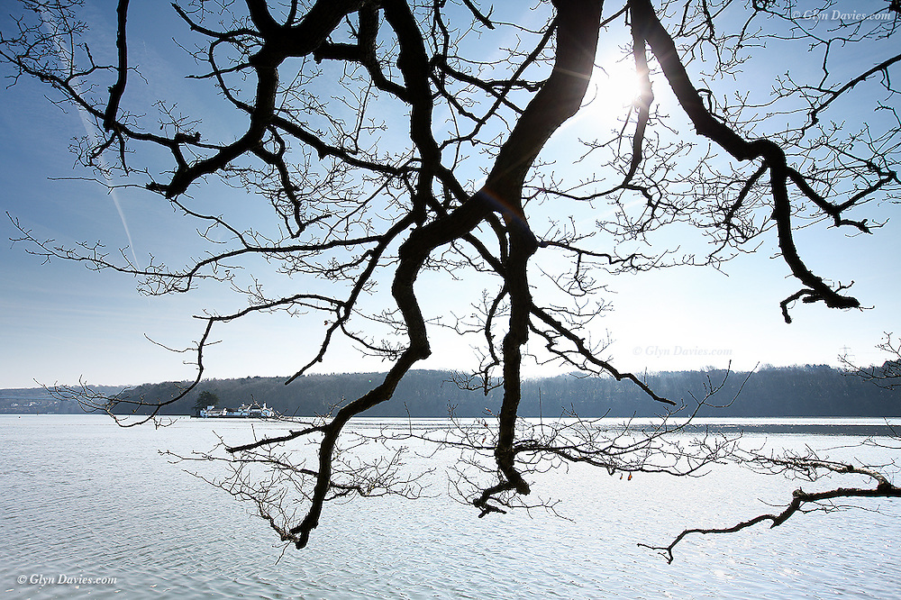 Looking through trees in early morning sunshine across a sparkly Menai Strait at the tiny island of Ynys Gorad Goch. At high tide the house, a non permanent residence, almost appears to float and is only accessible by boat