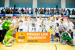Players of Krka celebrate after winning during basketball match between KK Krka and KK Union Olimpija Ljubljana in 5th Final match of Telemach League - Slovenian Championship 2013/14 on May 31, 2014 in Dvorana Leona Stuklja, Novo mesto, Slovenia. KK Krka won the game and became Slovenian National Champion 2014. Photo by Vid Ponikvar / Sportida