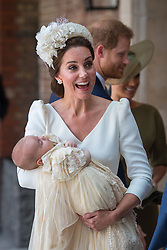 File photo dated 09/07/18 of the Duchess of Cambridge carrying Prince Louis as they arrive for his christening service at the Chapel Royal, St James's Palace, London. Prince Louis of Cambridge, who is celebrating his second birthday on Thursday, was born on patriotic St George???s Day in 2018.