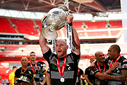 Hull FC loose forward and captain Gareth Ellis (13) lifts the trophy during the Ladbrokes Challenge Cup Final 2017 match between Hull RFC and Wigan Warriors at Wembley Stadium, London, England on 26 August 2017. Photo by Simon Davies.
