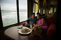 Lima, Peru- March 21, 2015: A couple enjoys the view at Rosa Naútica, a restaurant off a long pier off Lima's coastline. CREDIT: Chris Carmichael for The New York Times