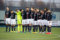 One minute silence here in memory of the Colombian Air Crash victims. Falkirk 3 v 1 St Mirren, Scottish Championship game played 3/12/2016 at The Falkirk Stadium.