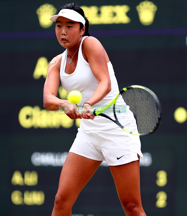 Ann Li during the girls the girls singles final against Claire Liu on day twelve of the Wimbledon Championships at The All England Lawn Tennis and Croquet Club, Wimbledon.
