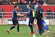 Substitution - \Barry Douglas (3) of Leeds United replaces Jack Harrison (22) of Leeds United during the EFL Sky Bet Championship match between Bristol City and Leeds United at Ashton Gate, Bristol, England on 9 March 2019.