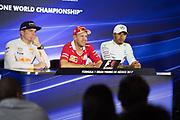 October 27-29, 2017: Mexican Grand Prix. Max Verstappen (DEU), Red Bull Racing, RB13, Sebastian Vettel (GER), Scuderia Ferrari, SF70H ,Lewis Hamilton (GBR), Mercedes AMG Petronas Motorsport, F1 W08