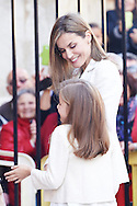 Queen Letizia of Spain and Princess Leonor attended the Easter Mass at the Cathedral of Palma de Mallorca on April 5, 2015 in Palma de Mallorca, Spain.