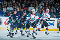KELOWNA, CANADA - APRIL 30: Rodney Southam #17 of the Kelowna Rockets skates beside Alexander True #16 of the Seattle Thunderbirds on April 30, 2017 at Prospera Place in Kelowna, British Columbia, Canada.  (Photo by Marissa Baecker/Shoot the Breeze)  *** Local Caption ***