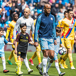 Manchester City defender Vincent Kompany (4) leads out his side in the English Premier League match between Manchester City and Crystal Palace<br /> (c) John Baguley | SportPix.org.uk