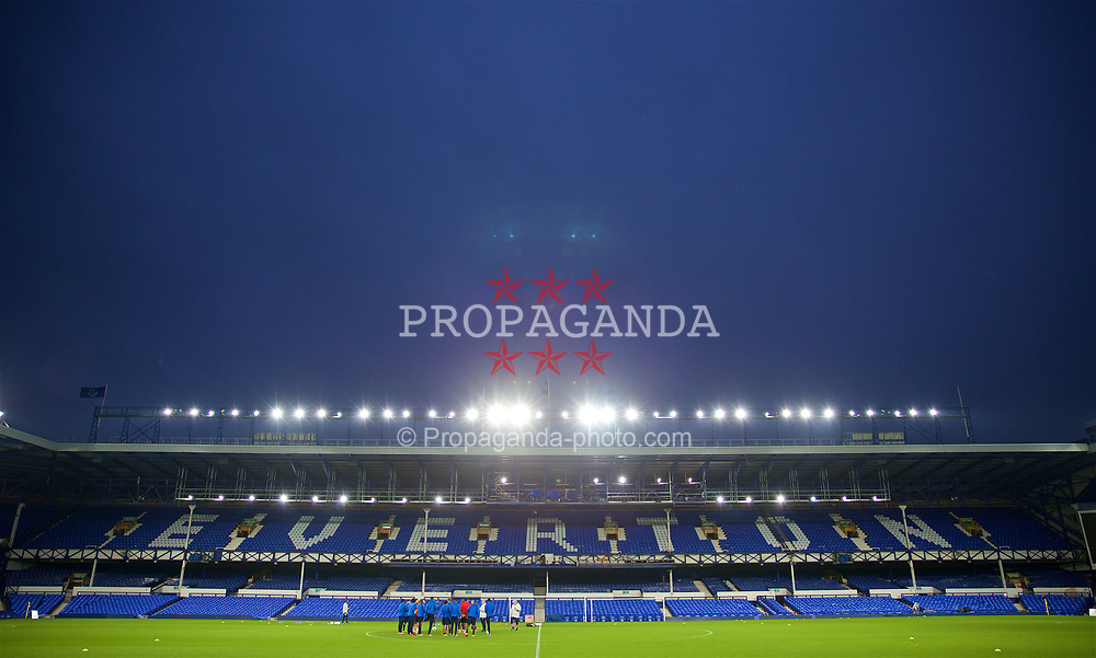 LIVERPOOL, ENGLAND - Wednesday, October 18, 2017: Olympique Lyonnais players during a training session at Goodison Park ahead of the UEFA Europa League Group E match against Everton. (Pic by David Rawcliffe/Propaganda)