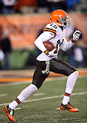 Cleveland Browns kick returner Marlon Moore (15) returns a fourth quarter kick during the NFL week 10 regular season football game against the Cincinnati Bengals on Thursday, Nov. 6, 2014 in Cincinnati. The Browns won the game 24-3. ©Paul Anthony Spinelli