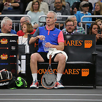 Tennis champion John McEnroe is seen at rest during the PowerShares Tennis Series event at the Amway Center on January 5, 2017 in Orlando, Florida. (Alex Menendez via AP)