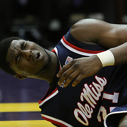 14 February 2009: Malcolm White (21) of Ole Miss reacts after hitting the floor hard on a play during a 73-66 win by the LSU Tigers against SEC rival the Ole Miss Rebels at the Pete Maravich Assembly Center in Baton Rouge, LA.