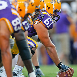 September 10, 2011; Baton Rouge, LA, USA;  LSU Tigers center Ben Domingue (61) prior to kickoff of a game against the Northwestern State Demons at Tiger Stadium.  LSU defeated Northwestern State 49-3. Mandatory Credit: Derick E. Hingle-US PRESSWIRE