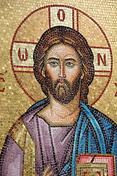 A mosaic of Christ adorns the outside walls of a church in Cyprus, November 2006