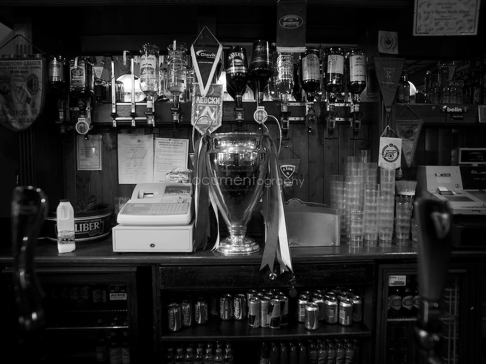 A replica of the European cup at the Albert in Anfield...OLYMPUS DIGITAL CAMERA