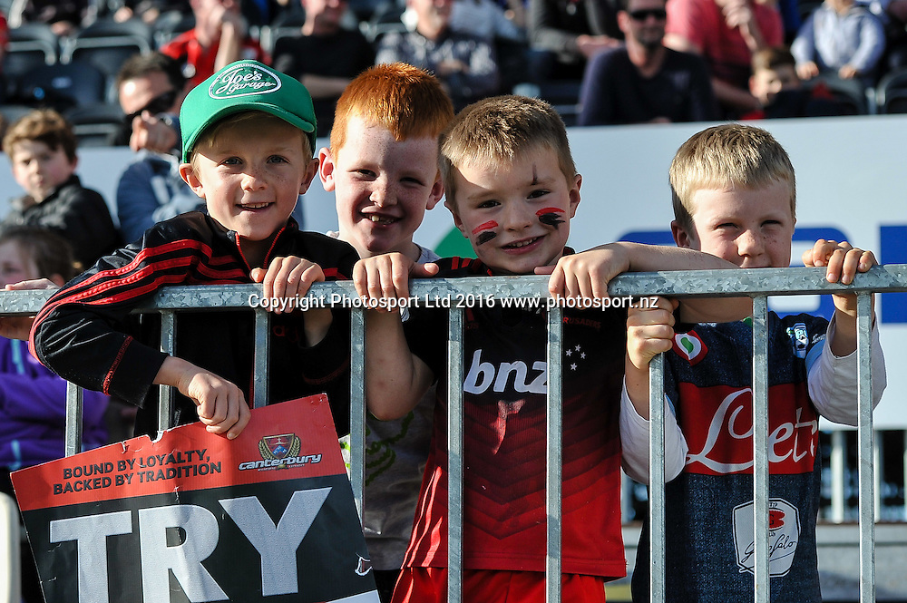 Fans during the Mitre 10 Cup Rugby Match, Canterbury V Tasman, AMI Stadium, Christchurch, New Zealand. 28th August 2016. Copyright Photo: John Davidson / www.photosport.nz