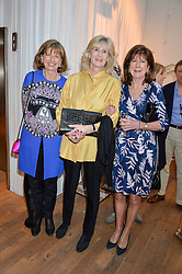 Left to right, KAREN HAMBRO, CLARISSA CARLTON-PAGET and COUNTESS OF BALFOUR at a party to celebrate the publication of The Naturalista by Xochi Balfour held at Anthropologie, 158 Regent Street, London on 19th April 2016.