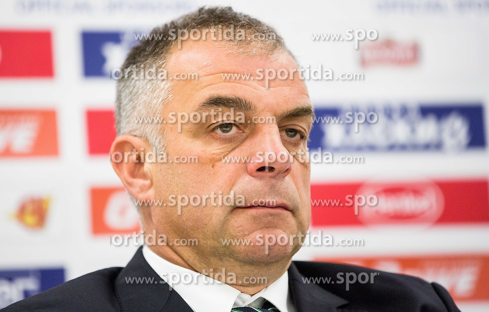 Matjaz Kopitar, head coach Slovenia at press conference after the Ice Hockey match between Belarus and Slovenia at Day 2 in Group B of 2015 IIHF World Championship, on May 2, 2015 in CEZ Arena, Ostrava, Czech Republic. Photo by Vid Ponikvar / Sportida