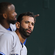Jose Bautista, (front) and Jose Reyes, Toronto Blue Jays, in the dugout during the New York Mets Vs Toronto Blue Jays MLB regular season baseball game at Citi Field, Queens, New York. USA. 15th June 2015. Photo Tim Clayton