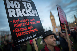 © Licensed to London News Pictures. 13/03/2017. London, UK. Protestors gather in Parliament Square to defend EU migrants' right to remain in the UK after Brexit.  Parliament is expected to pass the Brexit bill this week allowing the Prime Minister to trigger Article 50. Photo credit: Peter Macdiarmid/LNP