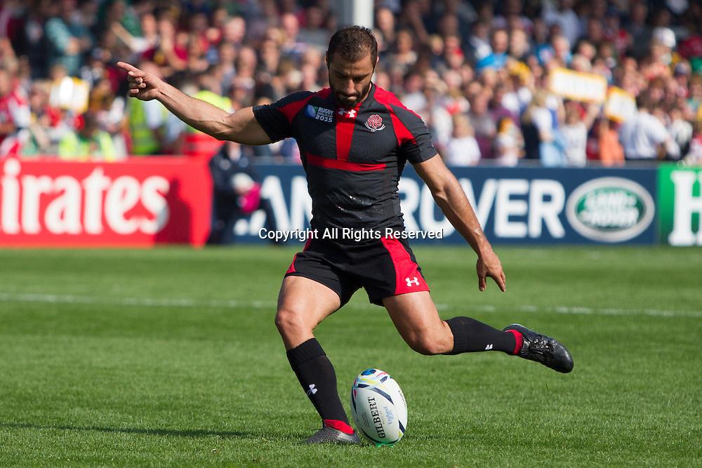 19.09.2015. Gloucester, England. Rugby World Cup. Tonga versus Georgia. Lasha Malaguradze of Georgia kicks a penalty.