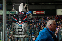 KELOWNA, CANADA - MARCH 9: Rocky Racoon the mascot of the Kelowna Rockets on March 9, 2016 at Prospera Place in Kelowna, British Columbia, Canada.  (Photo by Marissa Baecker/Shoot the Breeze)  *** Local Caption *** Rocky Racoon; mascot;