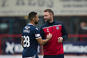 10th August 2019; Dens Park, Dundee, Scotland; SPFL Championship football, Dundee FC versus Ayr; Kane Hemmings of Dundee is congratulated by manager James McPake at the end of the match