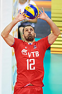 Poland, Krakow - 2017 September 03: Alexander Butko from Russia receives the ball while final match between Germany and Russia during Lotto Eurovolleyball Poland 2017 - European Championships in volleyball at Tauron Arena on September 03, 2017 in Krakow, Poland.<br /> <br /> Mandatory credit:<br /> Photo by © Adam Nurkiewicz<br /> <br /> Adam Nurkiewicz declares that he has no rights to the image of people at the photographs of his authorship.<br /> <br /> Picture also available in RAW (NEF) or TIFF format on special request.<br /> <br /> Any editorial, commercial or promotional use requires written permission from the author of image.