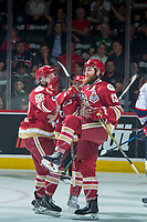 REGINA, SK - MAY 27: Adam Holwell #13 and Antoine Morand #88 of Acadie-Bathurst Titan celebrate a first period goal against the Regina Pats at the Brandt Centre on May 27, 2018 in Regina, Canada. (Photo by Marissa Baecker/CHL Images)