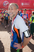 Michelin Star Chef and TV presenter Michel Roux Jr at the end of the Virgin Money London Marathon 2014 on Sunday 13 April 2014<br /> Photo: Roger Allan/Virgin Money London Marathon<br /> media@london-marathon.co.uk