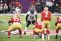 3 February 2013: Linebacker (52) Ray Lewis of the Baltimore Ravens in game action against the San Francisco 49ers during the second half of the Ravens 34-31 victory over the 49ers in Superbowl XLVII at the Mercedes-Benz Superdome in New Orleans, LA.