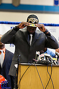 February 01, 2012: Dorial Green-Beckham announces that he is going to the University of Missouri to play college football on National Signing Day at Hillcrest High School in Springfield, Missouri. Photo by: David Welker/ Turfimages.com.