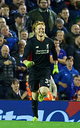 LIVERPOOL, ENGLAND - Wednesday, September 23, 2015: Liverpool's goalkeeper Adam Bogdan celebrates after his saves in the penalty shoot-out sealed a 3-2 victory after a 1-1 draw against Carlisle United during the Football League Cup 3rd Round match at Anfield. (Pic by David Rawcliffe/Propaganda)