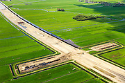 Nederland, Zuid-Holland, Midden-Delfland, 09-05-2013; aanleg A4 Midden-Delfland door Polder Vockestaert. Construction extension A4 motorway through the polder Vockestaert, between Delft and Rotterdam. Detail..luchtfoto (toeslag op standard tarieven).aerial photo (additional fee required).copyright foto/photo Siebe Swart