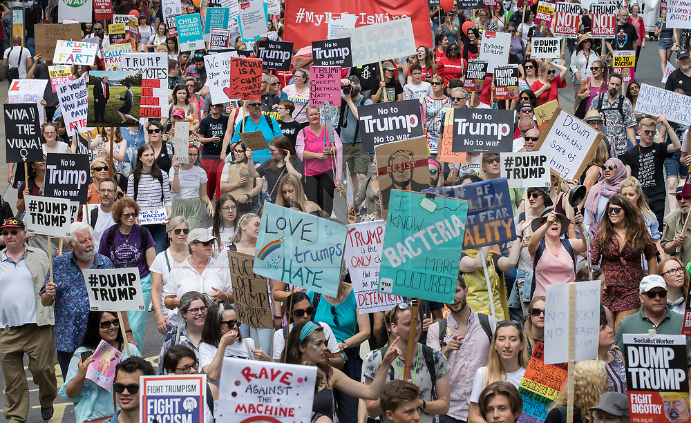 © Licensed to London News Pictures. 13/07/2018. London, UK. Demonstrators march down Whitehall in protest at President Trump's visit. President Trump is on the second day of a four day visit to the UK. Photo credit: Peter Macdiarmid/LNP