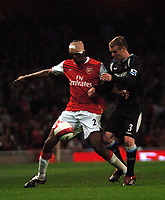 Photo: Tony Oudot.<br /> Arsenal v Manchester City. The Barclays Premiership. 17/04/2007.<br /> A heavily bandaged Abou Diaby of Arsenal is challenged by Michael Ball of Manchester City