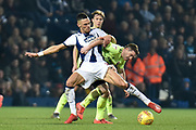 West Bromwich Albion defender Kieran Gibbs (3) battles for possession with Sheffield United midfielder John Fleck (4) during the EFL Sky Bet Championship match between West Bromwich Albion and Sheffield United at The Hawthorns, West Bromwich, England on 23 February 2019.