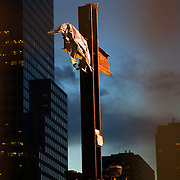 Steel girder cross made from remnants of WTC building at Ground Zero on November 7, 2003 at dusk, over two years after the 9/11/2001 terrorist attack on the World Trade Center, New York, NY