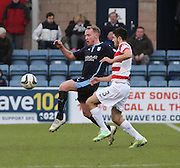 Dundee's Gary Irvine and Hamilton&rsquo;s Stephen Hendrie -  Dundee v Hamilton Academical, SPFL Premiership at Dens Park <br /> <br /> <br />  - &copy; David Young - www.davidyoungphoto.co.uk - email: davidyoungphoto@gmail.com