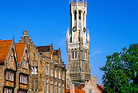 Rozenhoedkaai, Belfort (Belfry) in background, Brugge, Belgium