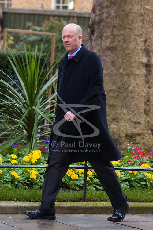 London, March 3rd 2015. Members of the cabinet arrive at 10 Downing Street for their weekly meeting. PICTURED: Justice Secretary Chris Grayling.