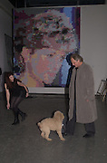 """David Soul, Alexa Soul and their dog Czechy in front of a painting of the princess of Wales. Movie called """" Tabloid TV """" charity party in aid of  The Rainforest Foundation. Brick lane. London  25 January 2001. © Copyright Photograph by Dafydd Jones 66 Stockwell Park Rd. London SW9 0DA Tel 020 7733 0108 www.dafjones.com"""