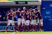 The Northampton Town players  celebrate Northampton Town defender Shay Facey (24) goal 1-0 during the EFL Sky Bet League 1 match between Northampton Town and Shrewsbury Town at Sixfields Stadium, Northampton, England on 20 March 2018. Picture by Dennis Goodwin.