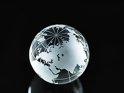 Glass Globe illustrating Asia, India, China, Russia, Africa, Saudi Arabia, Middle East (Credit Image: © Image Source/ZUMAPRESS.com)