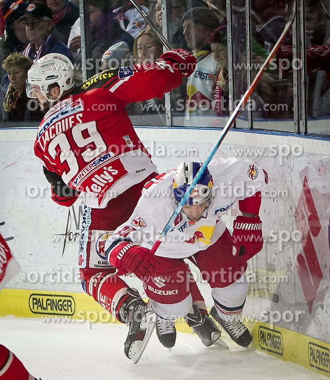 26.03.2015, Eisarena, Salzburg, AUT, EBEL, EC Red Bull Salzburg vs EC KAC, 64. Runde, Halbfinale, 3. Spiel, im Bild Check von Jean-Francois Jacques (KAC) an Daniel Welser (EC Red Bull Salzburg) // during the Erste Bank Icehockey League 64th round 3rd semifinal match between EC Red Bull Salzburg and EC KAC at the Eisarena in Salzburg, Austria on 2015/03/26. EXPA Pictures © 2015, PhotoCredit: EXPA/ JFK