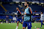 Chelsea FC midfielder Cesc Fabregas (4) warming up before the Europa League match between Chelsea and MOL Vidi at Stamford Bridge, London, England on 4 October 2018.